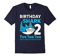 Birthday Shark 2017 2 Years Old Gift For Boy Girl Shirts Navy