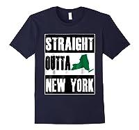 Straight Outta New York Funny Ny Shirts Navy