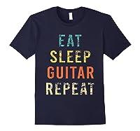 Retro Eat Sleep Guitar Repea Player Tea Rock Band Shirts Navy