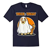 Dog Ghost Halloween Party Trick For Treat Shirts Navy