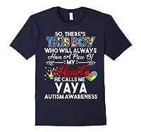 This Boy He Call Me Yaya Autism Awareness Shirts Navy