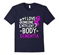 Lewy Body Detia Awareness Purple Ribbon Brain Disease T-shirt Navy