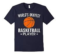 Vintage World's Okayest Basketball Player Funny Sports Gift Shirts Navy