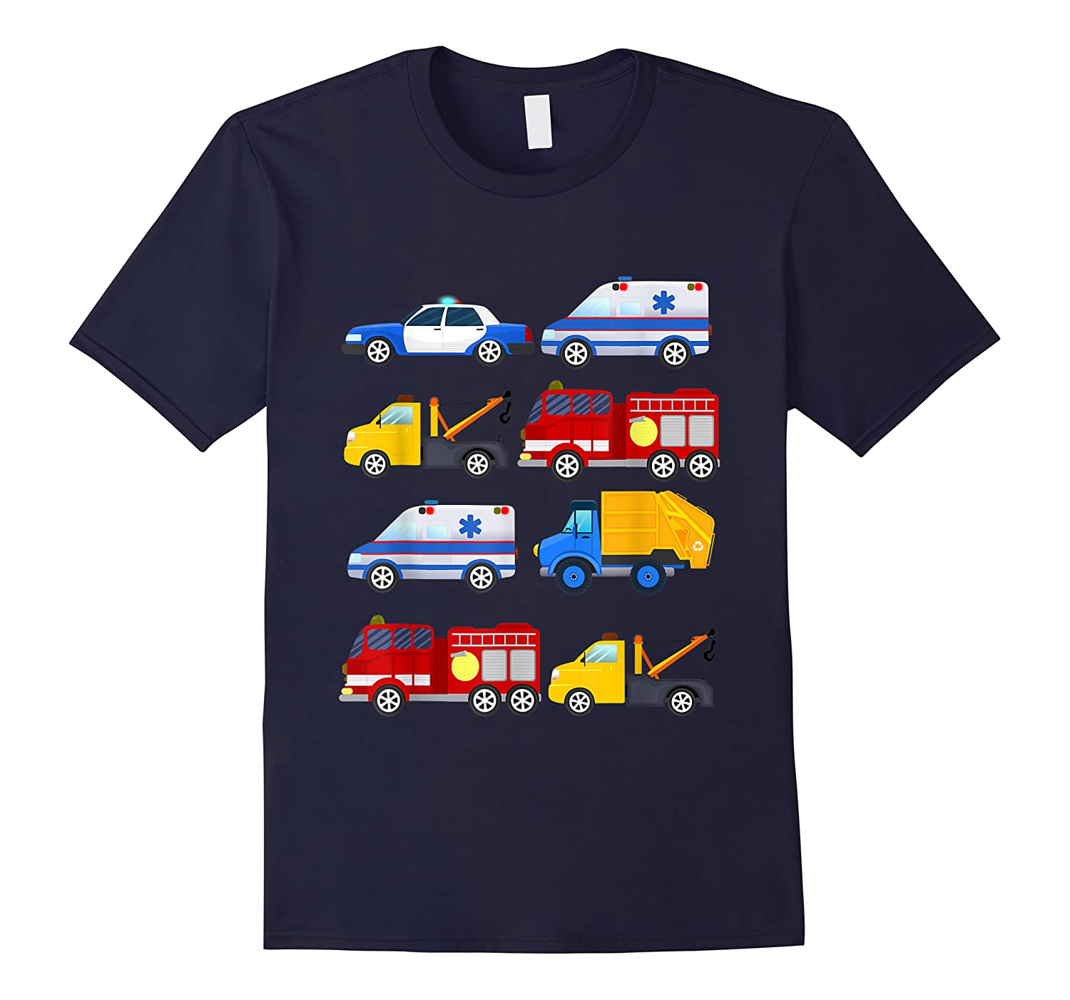 Emergency Vehicles Fire Truck Police Car Ambulance Tow Truck Shirts