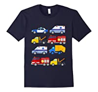 Emergency Vehicles Fire Truck Police Car Ambulance Tow Truck Shirts Navy
