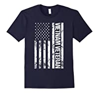 American Flag Vietnam Veteran T-shirt Navy
