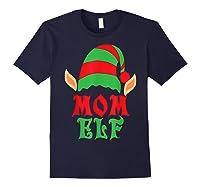 Christmas Mom Elf T Shirt Family Pajamas Xmas Mother Elves T-shirt Navy