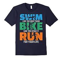 Swim Bike Run Triathlon Running Cycling Swimming Shirts Navy
