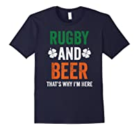 Rugby And Beer Funny Alcohol Outs For St Patricks Day T-shirt Navy