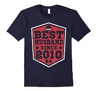 9th Wedding Anniversary Gift 9 Yrs Best Husband Since 2010 Shirts Navy