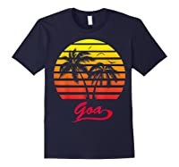 Goa 80s Summer Beach Palm Tree Sunset Shirts Navy