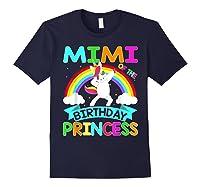 Mimi Of The Birthday Princess T-shirt Dabbing Unicorn Gift T-shirt Navy