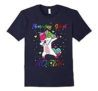 Eletary School Rocks Dabbing Unicorn Back To School Gifts T-shirt Navy