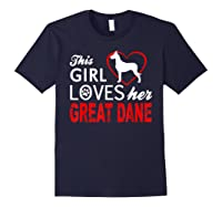 Cute This Girl Loves Her Great Dane Dog Lover T-shirt Navy
