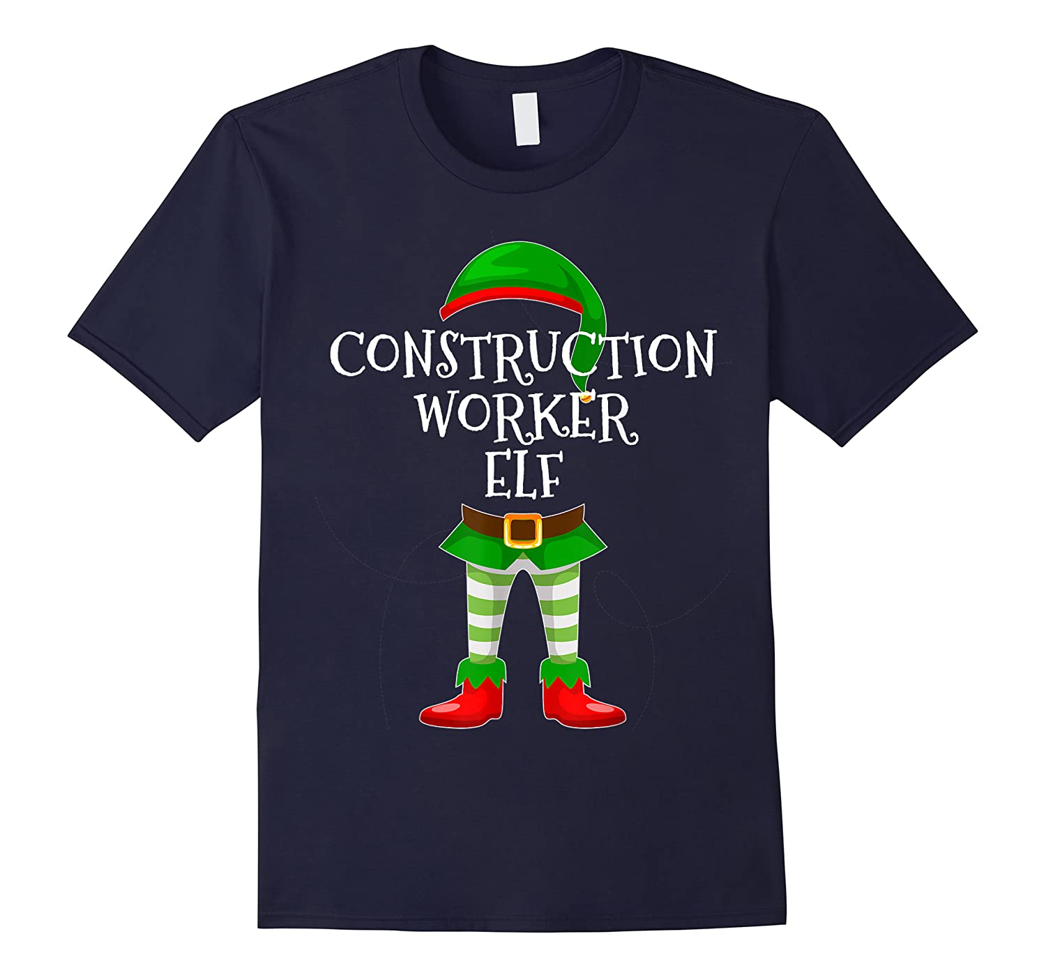 Construction Worker Elf Matching Family Christmas Design Shirts