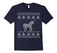 Unicorn Ugly Christmas Sweater, Funny Holiday Gift Shirts Navy