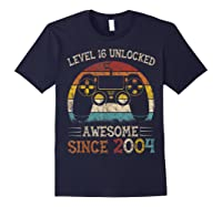 Vintage Video Level 16 Unlocked Gamers 16th Birthday Gifts Shirts Navy