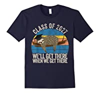 Distressed 5th Grade Class Of 2027 Sloth Grow With Me T-shirt Navy