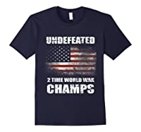 Undeted 2 Time World War T Shirt 4th Of July Shirts Gifts T-shirt Navy