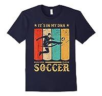 Retro Vintage Soccer Design 1970s T-shirt Navy