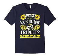 Sunshine And Triplets Funny Triplets Mom Grandma Shirts Navy