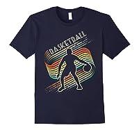 Vintage Retro Basketball Shirt Colorful Tshirt Navy