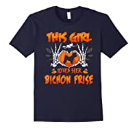 This Girl Loves Her Bichon Frise Dog Halloween Costume Shirts Navy