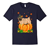 Thanksgiving Day Pug Dog Costume Pumpkin Gifts T-shirt Navy