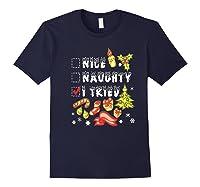 Nice Naughty I Tried Funny Candy Christmas Pajama Gift Shirts Navy
