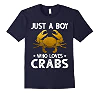 Just A Boy Who Loves Crabs Cute Animals Lovers Shirts Navy