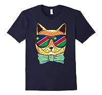 Namibia Flag Namibia Cat Sunglasses Shirt Navy