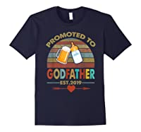 Promoted To Godfather Est 2019 Vintage Arrow Shirts Navy