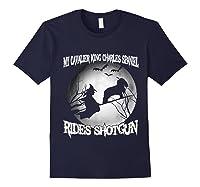 Cavalier King Charles Spaniel Rides Shotgun Halloween Shirts Navy