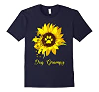 Dog Grampy Sunflower Gift Love Dogs And Flowers T-shirt Navy
