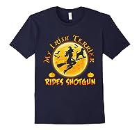 My Irish Terrier Dog Rides Shotgun Halloween Costumes Dogs T-shirt Navy