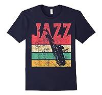 Saxophone Baritone Jazz Music Retro Vintage Gift T-shirt Navy