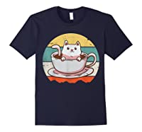 Coffee Cats Retro Vintage Gift T-shirt Navy