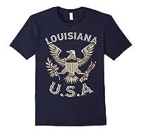 Louisiana Usa Patrio Eagle Vintage Distressed Shirts Navy
