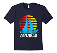 Zanzibar Sailing T-shirt Sunset Sailboat Vacation Gift Navy
