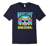 S Best Cat Dad Ever Cat Daddy Gift Premium T-shirt Navy