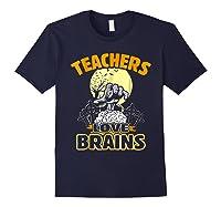 Teas Love Brains Funny Halloween Costume Gift Shirts Navy