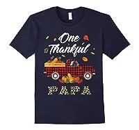 One Thankful Papa Truck Thanksgiving Day Family Matching T-shirt Navy