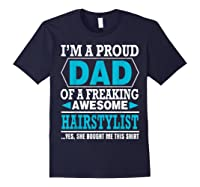 S Proud Dad Awesome Hairstylist Gift T-shirt Navy
