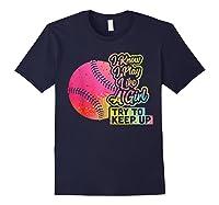 Baseball Funny Gift Team Play Like A Girl Softball Shirts Navy