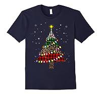 Christmas Tree Leopard Print Buffalo Plaid Merry Xmas Gift Shirts Navy