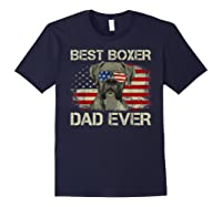 Best Boxer Dad Ever Dog Lover American Flag Gift Shirts Navy