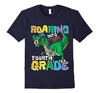 Roaring Into Fourth Grade 4 Dinosaur Back To School Soccer Shirts Navy