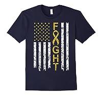 Childhood Cancer Awareness T-shirt American Flag Distresse T-shirt Navy