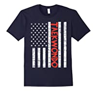 Us Flag Taekwondo Vintage Patriotic Martial Arts Lover Gift T-shirt Navy