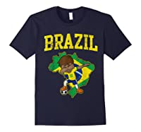 Brazil Soccer Boy Brazilian Football Dabbing Shirts Navy
